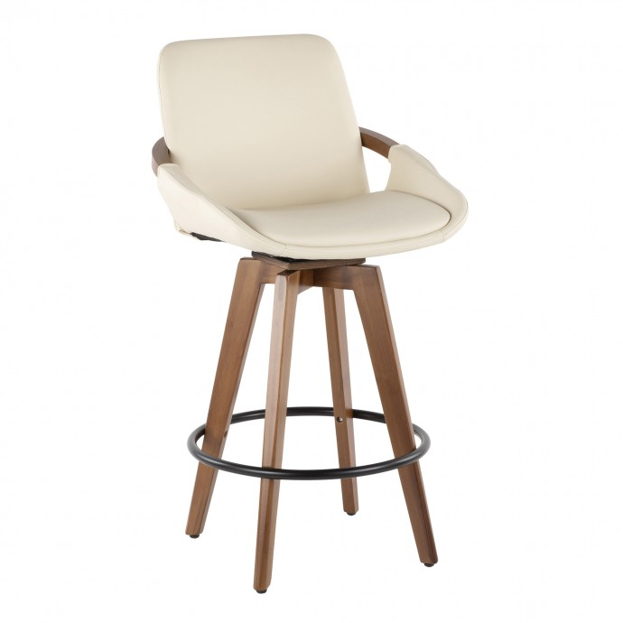 Mid-century modern black leather lounge chair Nora