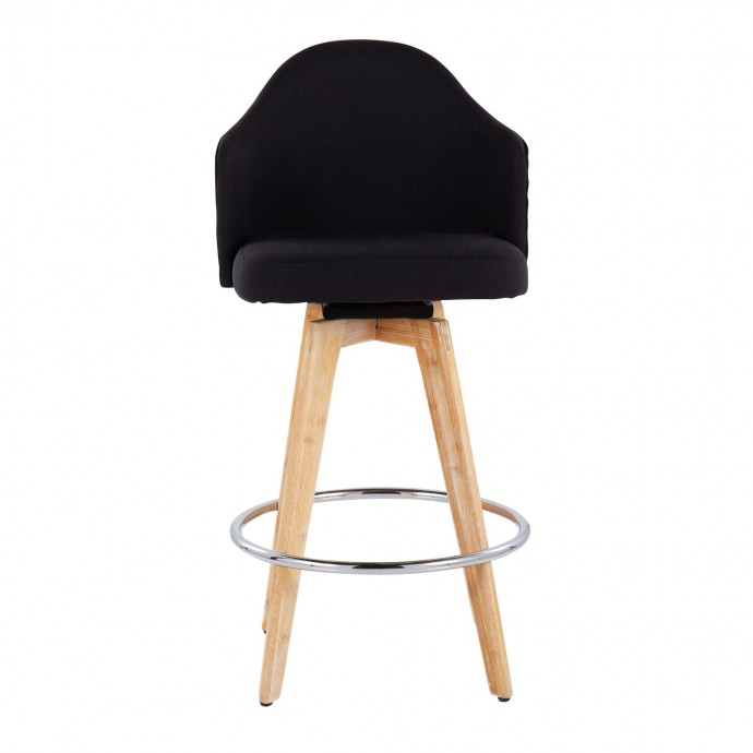 Modern chrome and black round coffee table Lorenzo