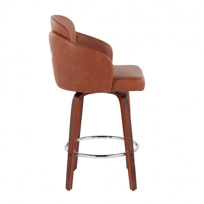 Modern espresso leather ottoman with storage Isla