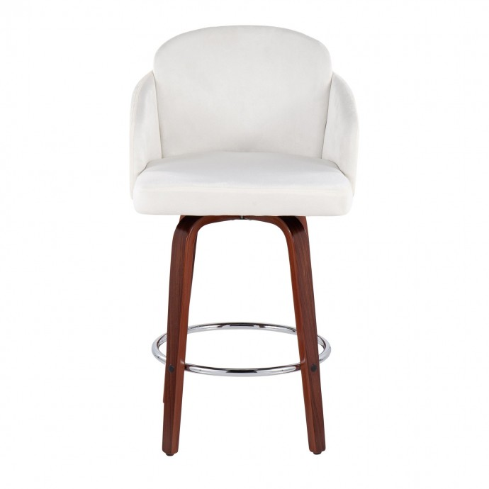 Modern White Leather Lounge Chair with Ottoman Gibson