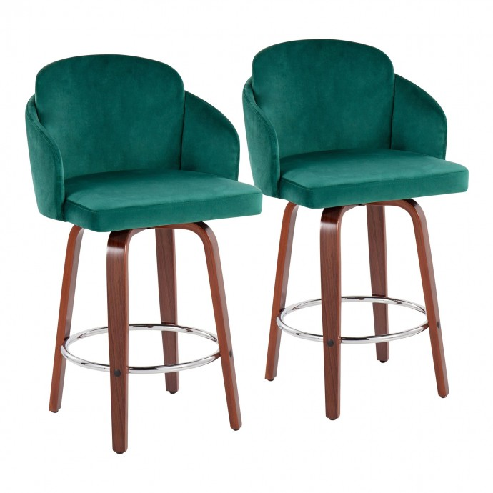 Modern Round Walnut Wood Side Table Lippo
