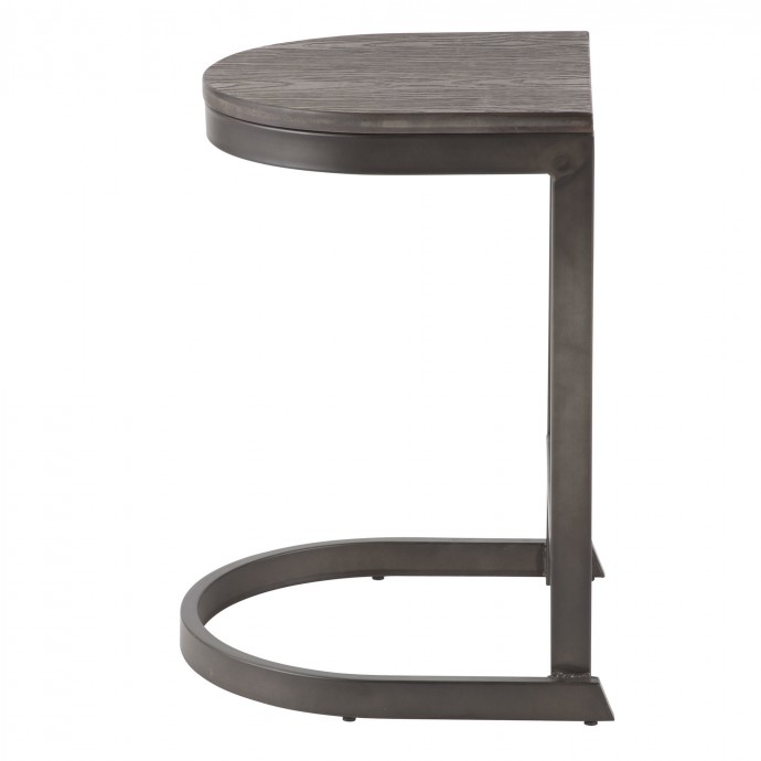 Industrial Round Coffee Table with Wooden Top and Black Iron Base Gaspar