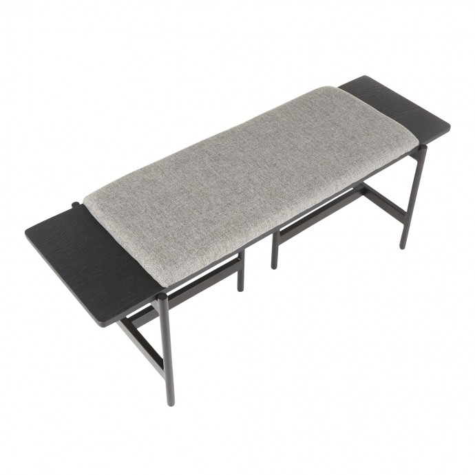 Mid-century Modern Bar Stool in Walnut and Black Folia