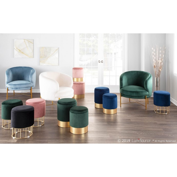 Set of 2 Contemporary Counter Stools in Walnut and White Mara LumiSource - 1