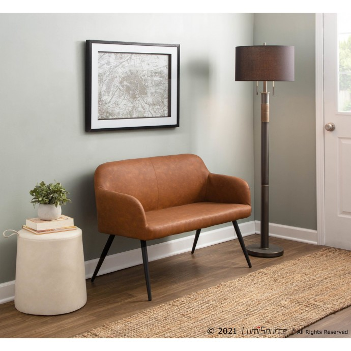 Mid-Century Modern Barstool in Grey Fabric and Walnut Wood Serena LumiSource - 1