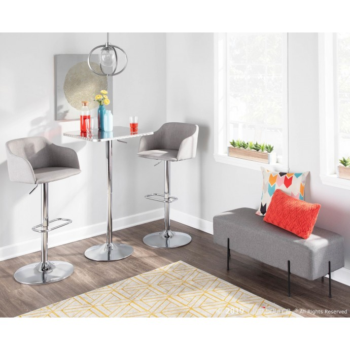 Contemporary Bar stool in Blue Fabric Tintori LumiSource - 1