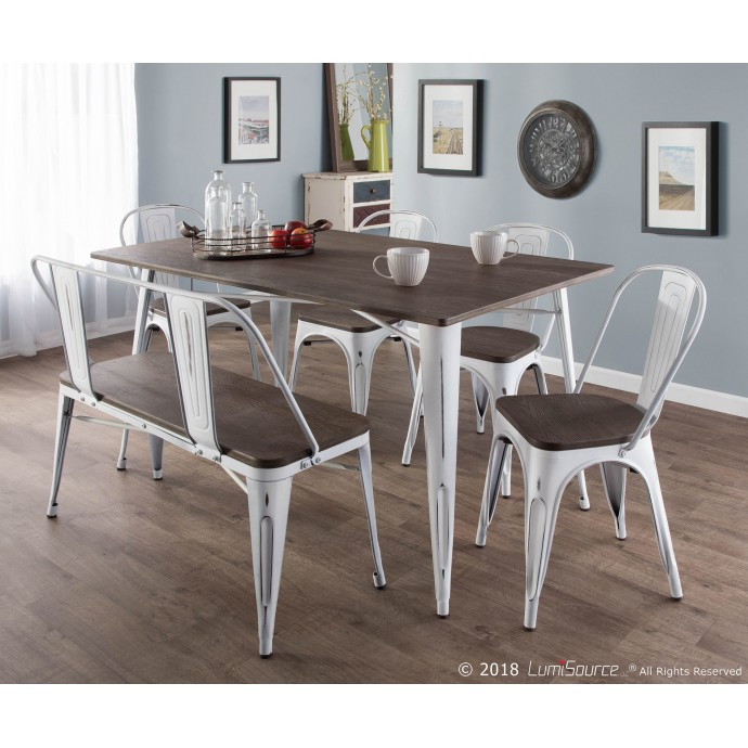 Mid-century Modern Bar Stool in Walnut and Grey Cassis LumiSource - 4