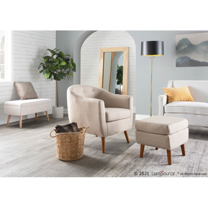 Mid-century Modern Bar Stool in Walnut and Cream Cecina