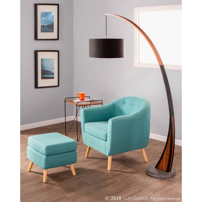 Mid-century Modern Bar Stool in Walnut and Cream Cosi