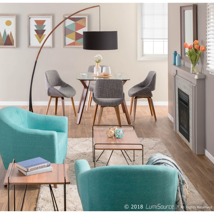 Mid-Century Modern Adjustable Bar Stool in Walnut and Grey Cosi