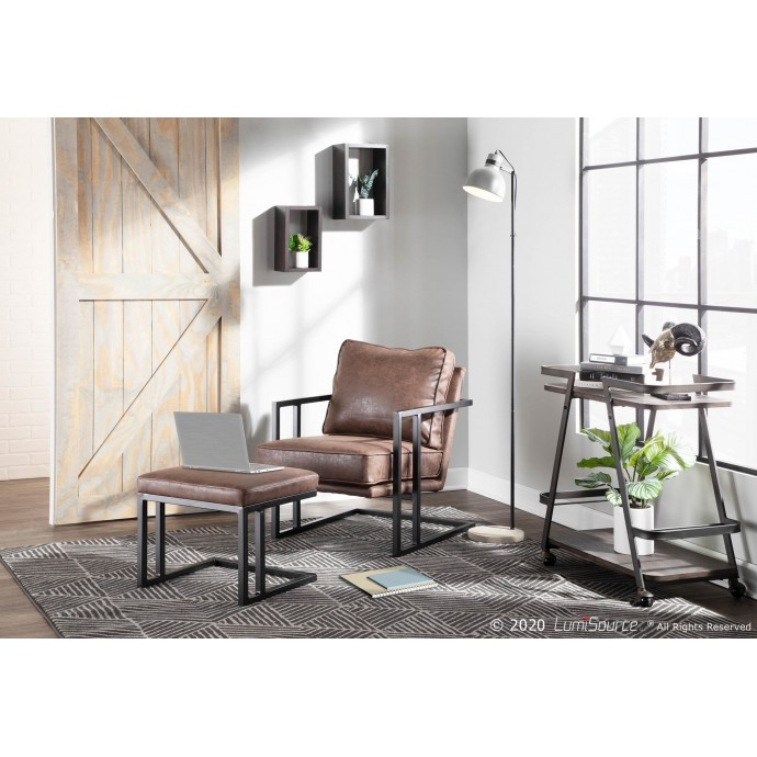Mid-century Modern Counter Stool in Walnut and Grey Cosini