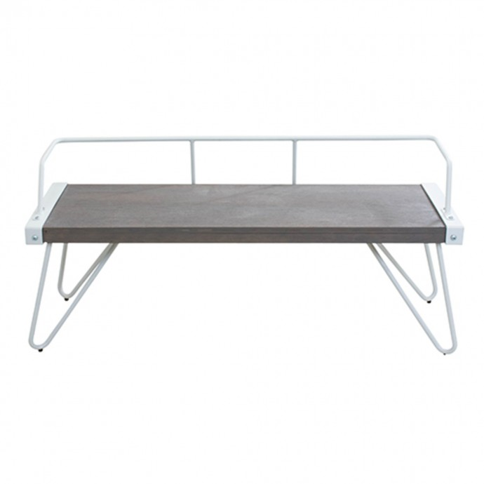 Mid-Century Modern Counter Stool in Walnut Wood and Cream Fabric Curvini