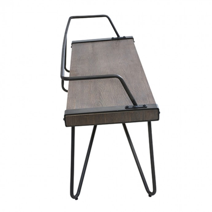 Mid-Century Modern Counter Stool in Walnut Wood and Light Grey Fabric Curvini
