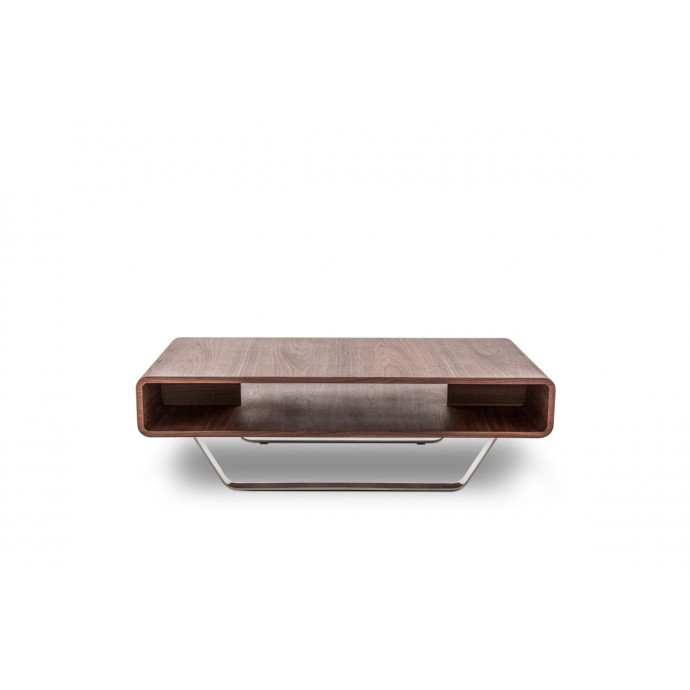 Set of 2 Contemporary Counter Stools in Walnut and White Mara LumiSource - 6