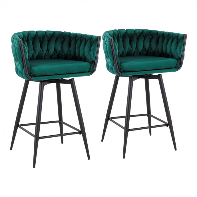 Set of 2 Mid-Century Modern Counter Stools in Walnut and Black Saddle LumiSource - 3