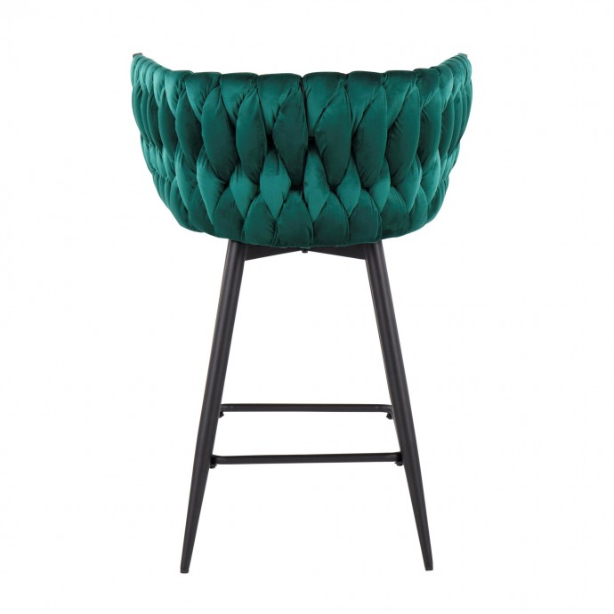 Set of 2 Mid-Century Modern Counter Stools in Walnut and Black Saddle LumiSource - 5