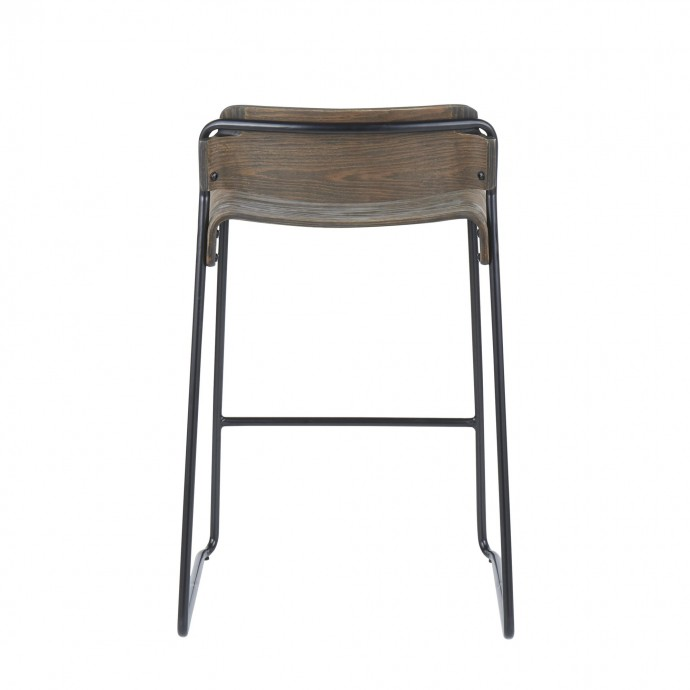 Adjustable Mid-century Modern Bar Stool in Cherry and Brown Santi LumiSource - 3