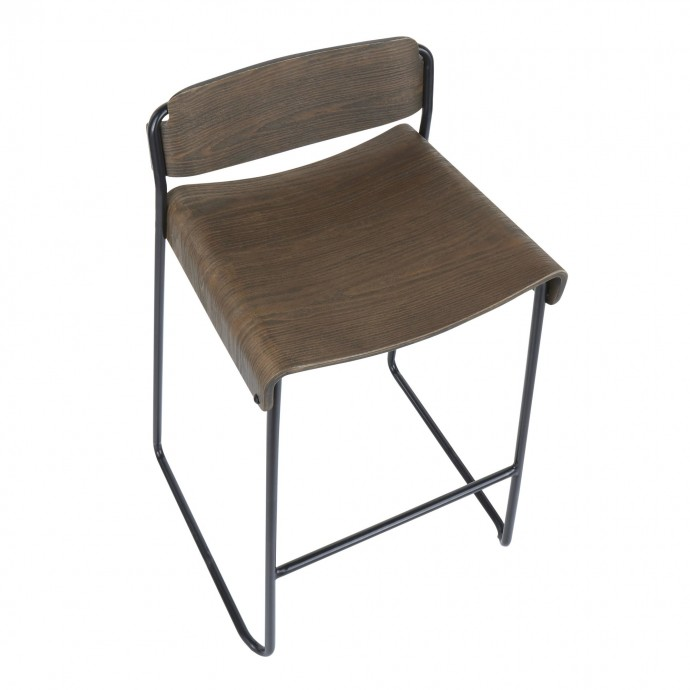 Adjustable Mid-century Modern Bar Stool in Cherry and Brown Santi LumiSource - 4