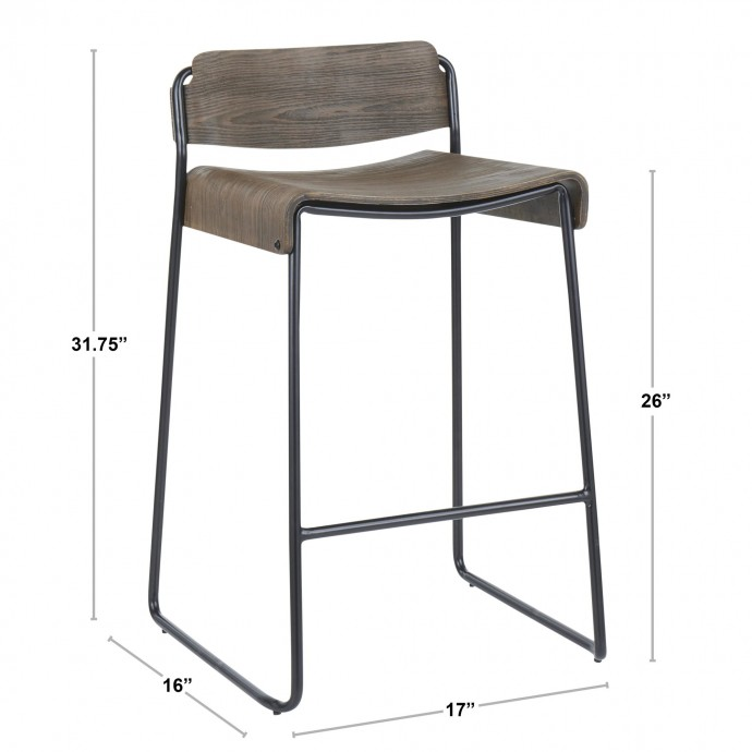 Adjustable Mid-century Modern Bar Stool in Cherry and Brown Santi LumiSource - 5