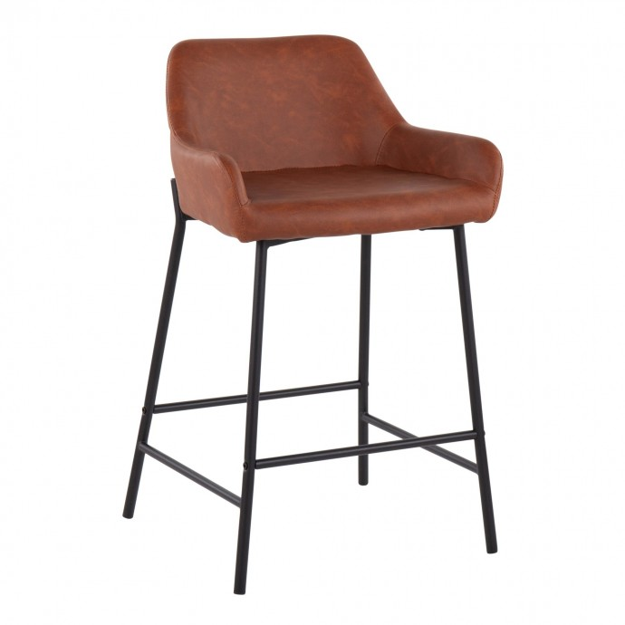 Adjustable Mid-century Modern Bar Stool in Walnut and Cream Santi