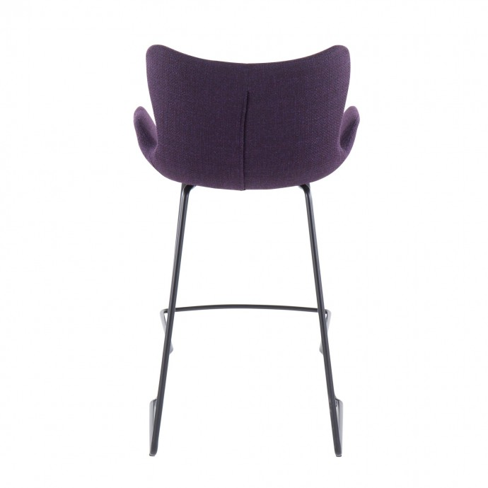 Mid-Century Modern Adjustable Bar Stool in Walnut and Green Shiraz LumiSource - 6