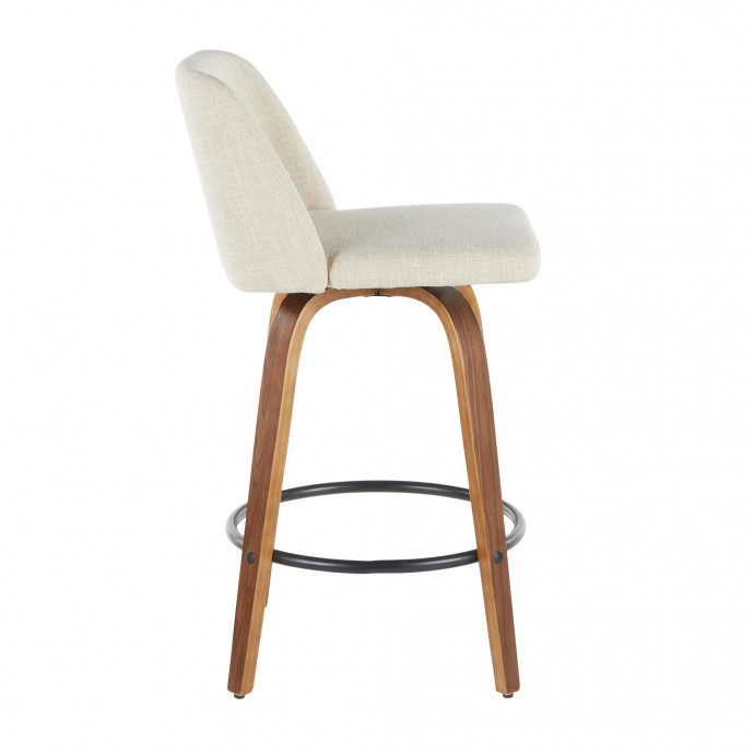 Mid-Century Modern Adjustable bar stool in Walnut and Grey Shiraz