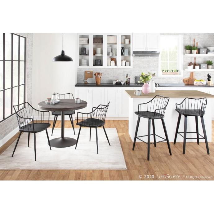 Contemporary Adjustable Bar stool in White Spago LumiSource - 2