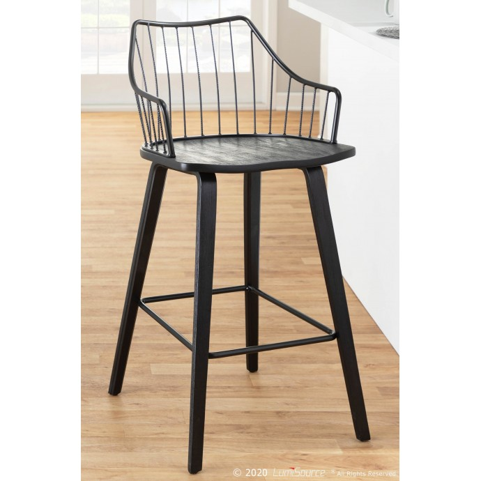 Contemporary Adjustable Bar stool in White Spago LumiSource - 3