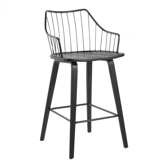 Contemporary Adjustable Bar stool in White Spago LumiSource - 4