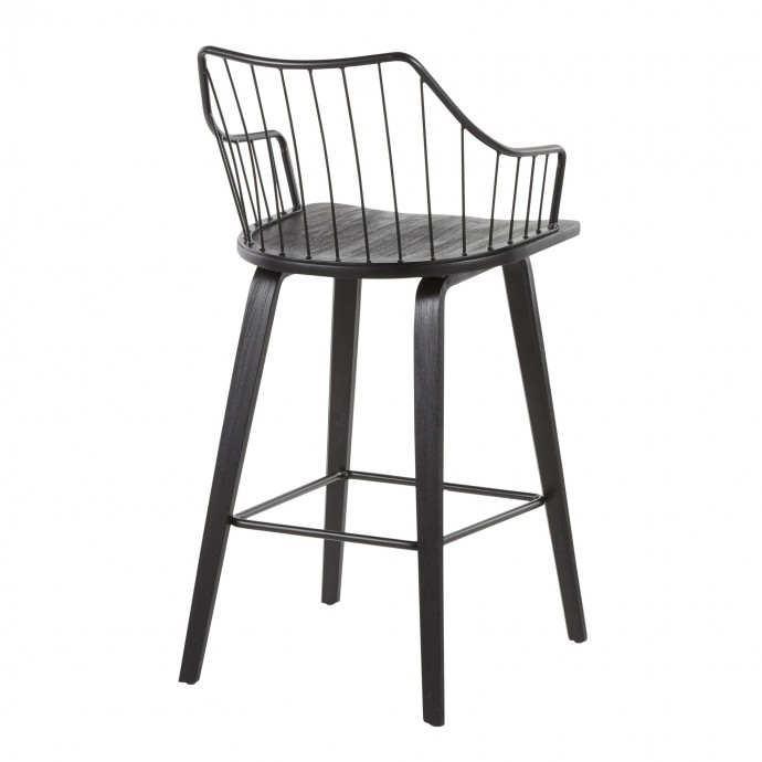 Contemporary Adjustable Bar stool in White Spago LumiSource - 5