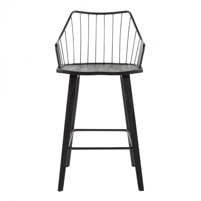 Contemporary Adjustable Bar stool in White Spago LumiSource - 6