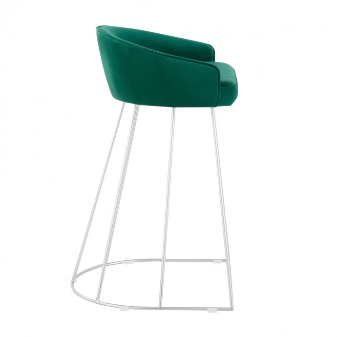 Modern clear glass and chrome side table Padova