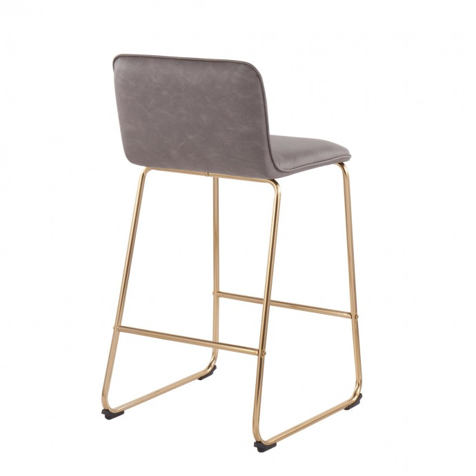 Modern grey leather sectional with recliner Anastasia