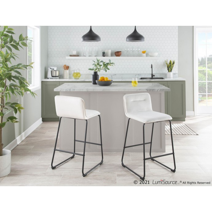 Modern Light Gray Fabric Lounge Chair with ottoman Wall Street