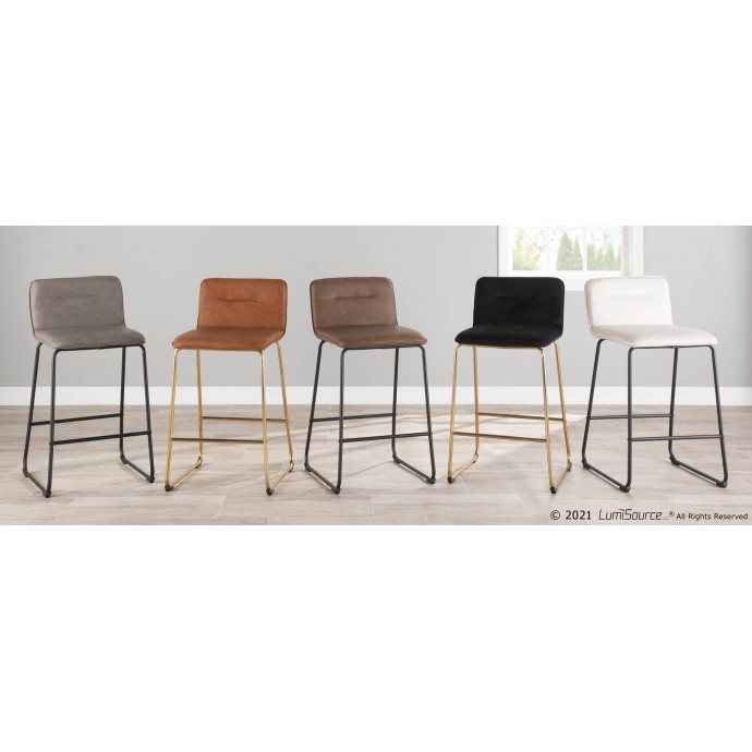 Modern Oatmeal Fabric Lounge Chair with ottoman Wall Street