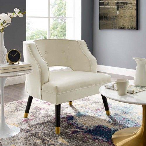 Modern Ivory Velvet Lounge Chair Bali