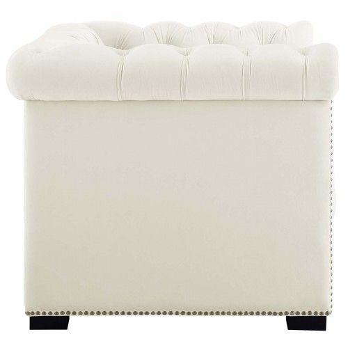 Modern Ivory Velvet Club Chair Chester