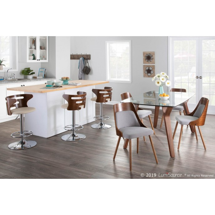 Modern blue tweed fabric lounge chair and ottoman Classico